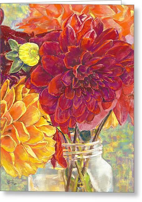 Birdseye Greeting Cards - Dahlias in a Canning Jar Greeting Card by Nick Payne