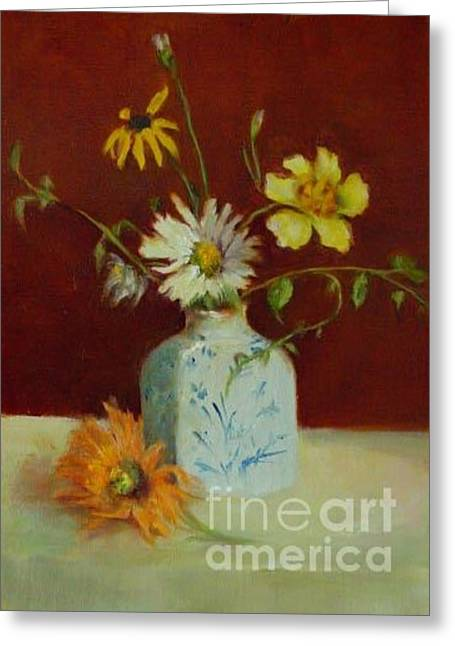 Porcelein Greeting Cards - Dahlias in Delft                 copyrighted Greeting Card by Kathleen Hoekstra