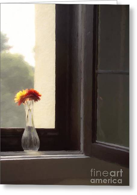 Dahlias Greeting Cards - Dahlias in the Window Greeting Card by Diane Diederich