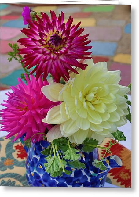 John Hancock Greeting Cards - Dahlias Greeting Card by John Hancock