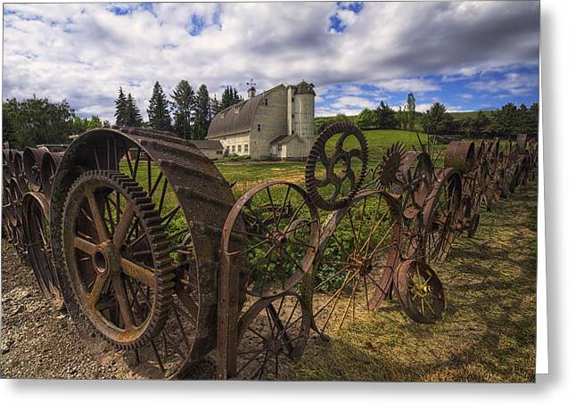 White Barns Greeting Cards - Dahmen Barn Greeting Card by Mark Kiver