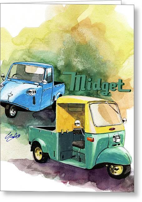 Mini Paintings Greeting Cards - Daihatsu Midget Greeting Card by Yoshiharu Miyakawa