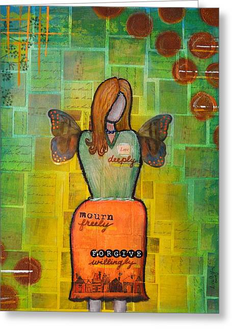 Forgiven Mixed Media Greeting Cards - Daily Mantras 3 Greeting Card by Lindy Powell