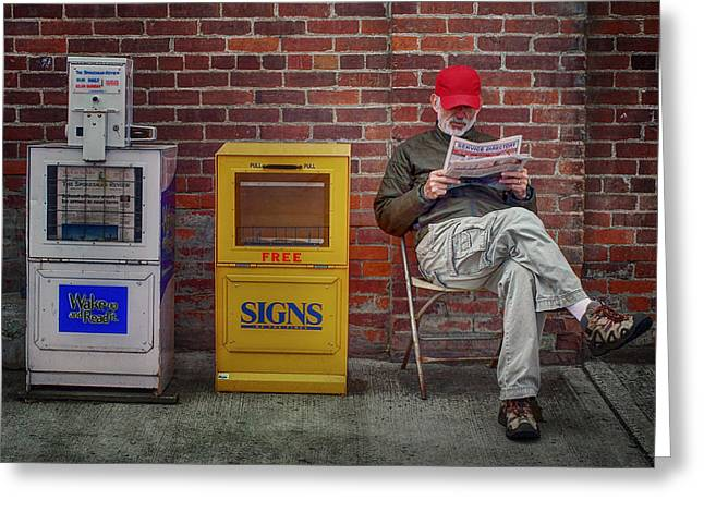 Reading The Paper Greeting Cards - Daily Read - Small Town Life Greeting Card by Nikolyn McDonald