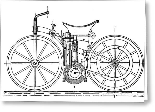 European Artwork Greeting Cards - Daimler Motorcycle, 1880s Greeting Card by Bildagentur-online