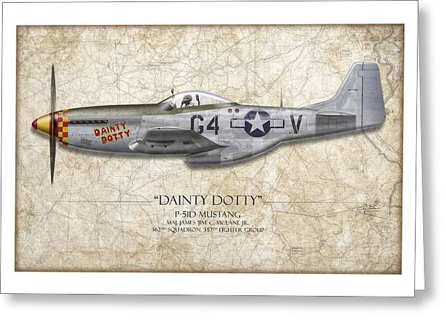 Me262 Greeting Cards - Dainty Dotty P-51D Mustang - Map Background Greeting Card by Craig Tinder