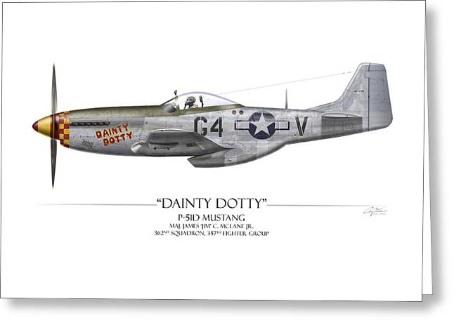 P51 Mustang Greeting Cards - Dainty Dotty P-51D Mustang - White Background Greeting Card by Craig Tinder