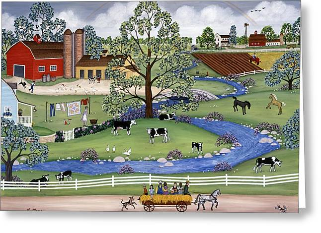 Best Sellers Greeting Cards - Dairy Farm Greeting Card by Linda Mears