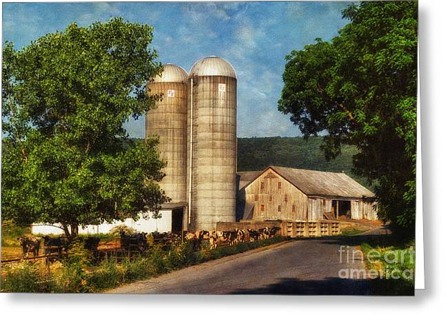 Dairy Barn Greeting Cards - Dairy Farming Greeting Card by Lois Bryan