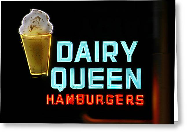 Dairy Greeting Cards - Dairy Queen Neon Sign - Route 66 Greeting Card by Mike McGlothlen