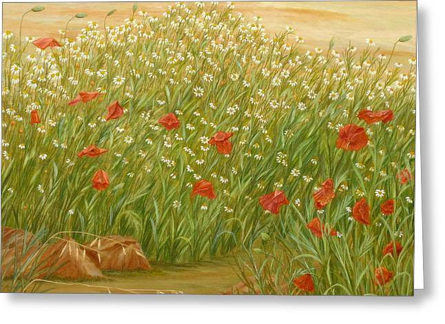 Cocoons Greeting Cards - Daisies and Poppies Greeting Card by Angeles M Pomata