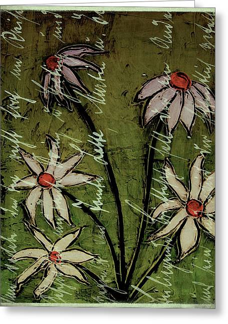 Laura Carter Greeting Cards - Daisies and Script Painting Greeting Card by Laura  Carter