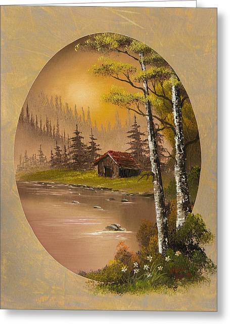 Bob Ross Paintings Greeting Cards - Flowers at Sunrise Greeting Card by C Steele