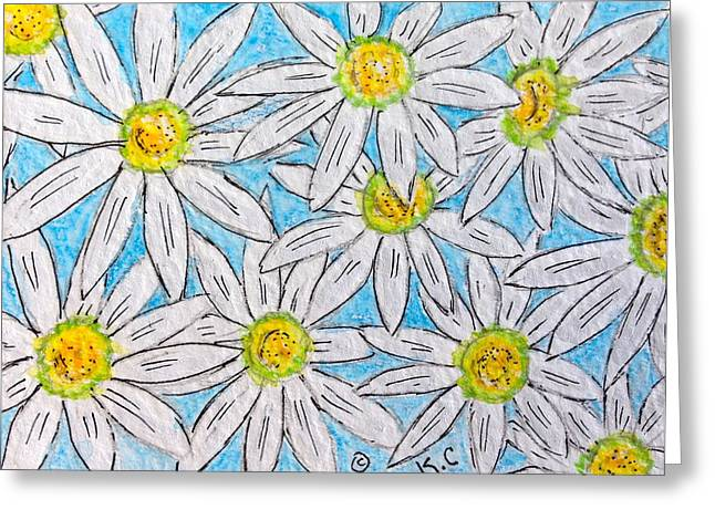 Lots Of Daisies Greeting Cards - Daisies Daisies Greeting Card by Kathy Marrs Chandler