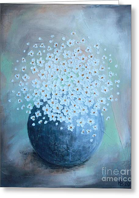 Home Art Greeting Cards - Daisies in green Greeting Card by Home Art