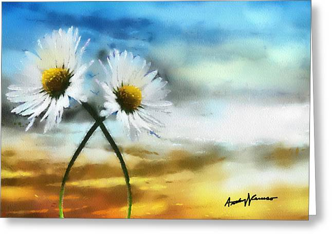 Daisy Digital Art Greeting Cards - Daisies in Love Greeting Card by Anthony Caruso