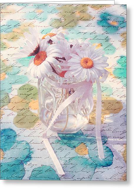 Daisy Greeting Cards - Daisies in Pot 02a - Du Bonheur en Pot Greeting Card by Variance Collections