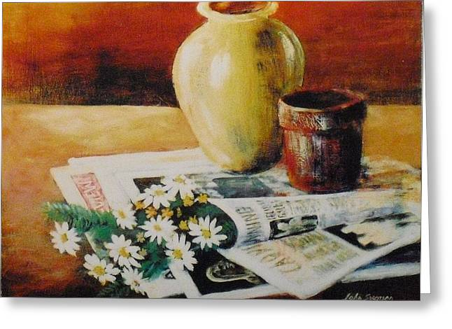 Daisies In The News Greeting Card by John  Svenson