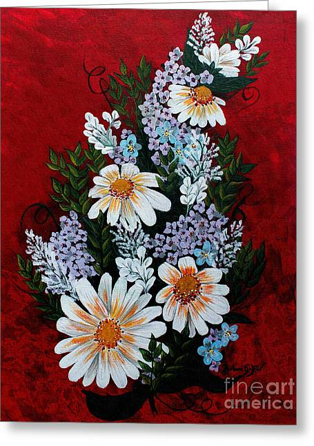 Daisies Lilacs And Forget Me Nots Greeting Card by Barbara Griffin