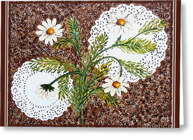 Green Barbara Griffin Art Greeting Cards - Daisies on Doilies Greeting Card by Barbara Griffin