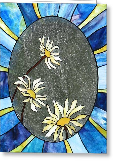 Print Card Glass Greeting Cards - Daisies Greeting Card by Suzanne Tremblay