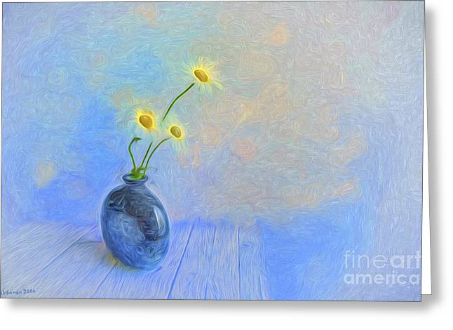 Peaceful Still Life Greeting Cards - Daisies Greeting Card by Veikko Suikkanen