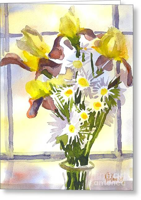 Kipdevore Greeting Cards - Daisies with Yellow Irises Greeting Card by Kip DeVore