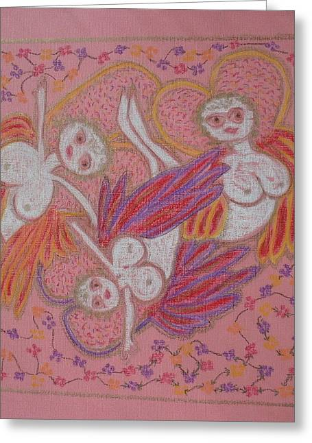 Virgin Pastels Greeting Cards - Daisy Chain Angels Greeting Card by Lyn Blore Dufty