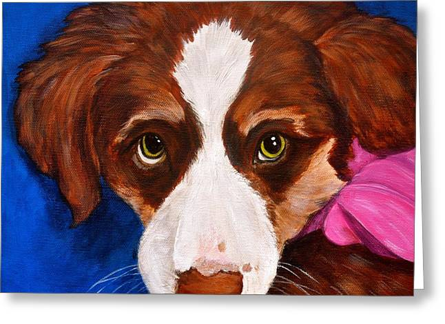 Puppy Dog Eyes Greeting Cards - Daisy Greeting Card by Debi Starr