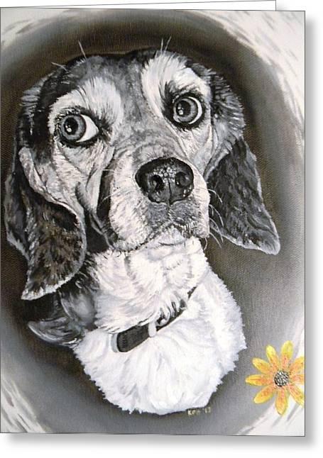 Kevin F Heuman Greeting Cards - Daisy Dog Greeting Card by Kevin F Heuman