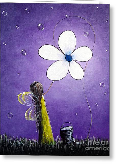 Faery ists Paintings Greeting Cards - Daisy Fairy by Shawna Erback Greeting Card by Shawna Erback