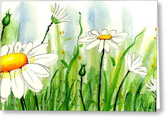 Anniesdoodlebugz Greeting Cards - Daisy Field 2 of 2 Greeting Card by Annie Troe