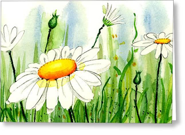 Field Framed Prints Greeting Cards - Daisy Field Greeting Card by Annie Troe