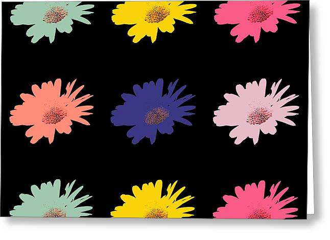 Spring Scenes Mixed Media Greeting Cards - Daisy flower in Pop Art Greeting Card by Toppart Sweden