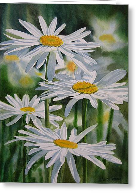 Watercolour Paintings Greeting Cards - Daisy Garden Greeting Card by Sharon Freeman