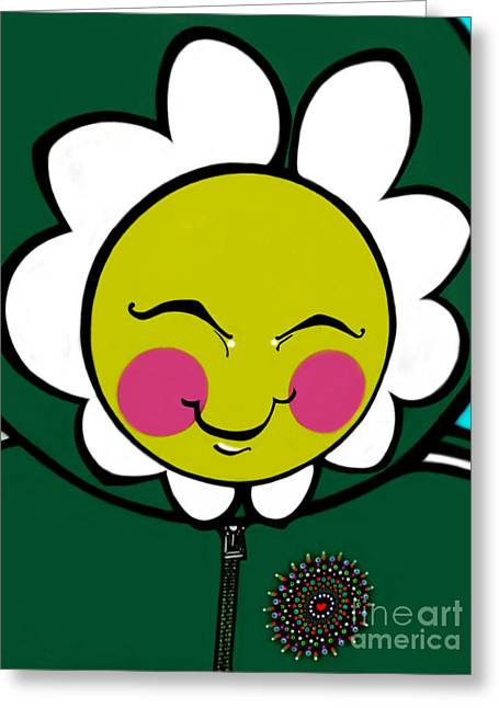 Pink Cheeks Greeting Cards - Daisy Guy Greeting Card by Stewart Knight