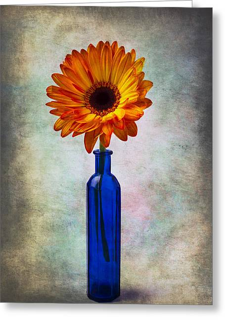 Blue Mood Greeting Cards - Daisy In Blue Vase Greeting Card by Garry Gay