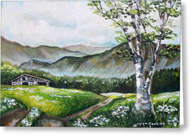 Dilapidated Paintings Greeting Cards - Daisy Lane Greeting Card by Shana Rowe
