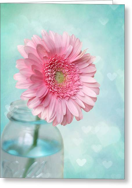 Pink Heart Greeting Cards - Daisy Love Greeting Card by Amy Tyler