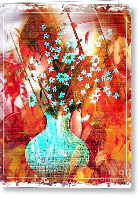 Vase Of Flowers Mixed Media Greeting Cards - Daisy Greeting Card by Maria Magri
