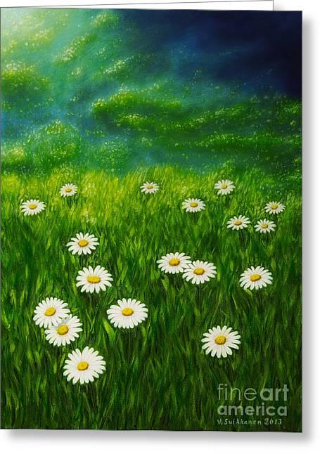 Organic Greeting Cards - Daisy meadow Greeting Card by Veikko Suikkanen