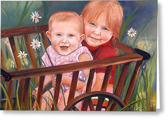 Wooden Wagons Paintings Greeting Cards - Daisy - Portrait - Girls in Wagon Greeting Card by Jan Dappen