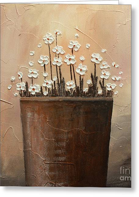 Home Art Greeting Cards - Daisy pot Greeting Card by Home Art