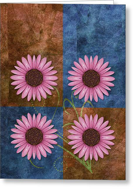 Flower Design Greeting Cards - Daisy Quatro v04 Greeting Card by Variance Collections