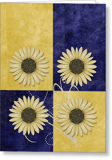Duo Greeting Cards - Daisy Quatro v09 Greeting Card by Variance Collections