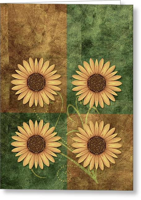 Flower Design Greeting Cards - Daisy Quatro v12c03 Greeting Card by Variance Collections