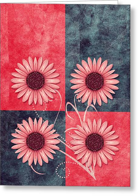 Daisy Greeting Cards - Daisy Quatro v13b Greeting Card by Variance Collections