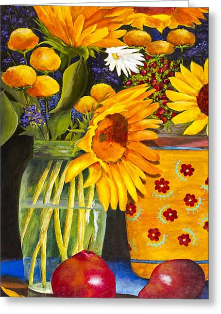 Glass Vase Greeting Cards - Daisy Still Life by Fran Langer Greeting Card by Sheldon Kralstein