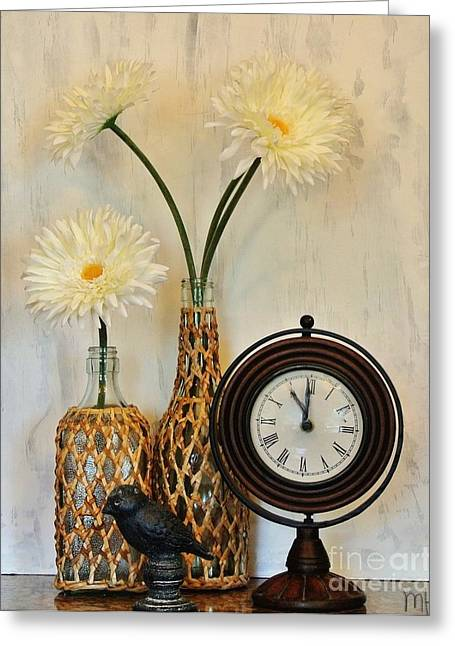 Bird Bottle Greeting Cards - Daisy Time Greeting Card by Marsha Heiken