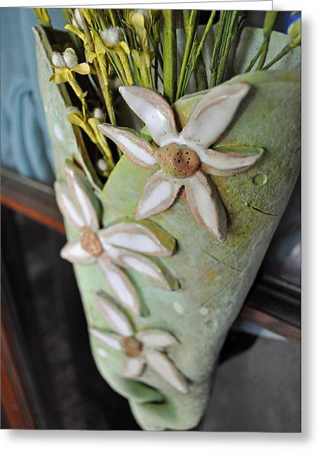Handbuilt Ceramics Greeting Cards - Daisy Wall Door Vase  Greeting Card by Amanda  Sanford